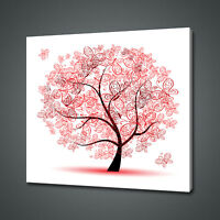 BEAUTIFUL RED BUTTERFLIES ABSTRACT TREE CANVAS PRINT WALL ART PICTURE PHOTO
