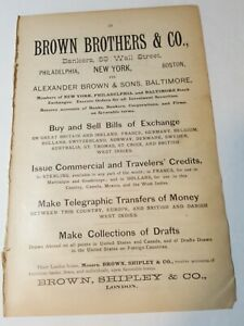 1890 print ad BROWN BROTHERS & COMPANY Bankers 59 Wall St NYC stock exchange