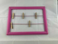 Wooden Picture Photo Frame Wall Hanging Display with 5 Clips. Hot Pink