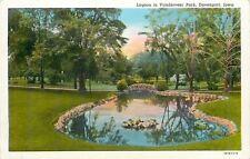 Davenport Iowa~Lagoon in Venderveer Park~Pond with Footbridge~1940s