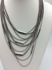 LUCKY BRAND Silver-Tone Pave Bar Draped Multi-Chain Necklace $55 LK14a