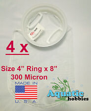 "4x Filter Sock 4"" Ring x 8"" 300 Micron Mesh Polyester High Quality Aquarium Bag"