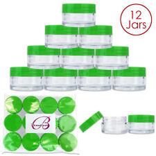 Beauticom® (12 PCS) 20G/20ML Round Clear Plastic Refill Jars with Green Lids