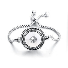 Hot Silver Pull Closure Bracelets Drill Fit For Noosa Snaps Chunk Charm Button