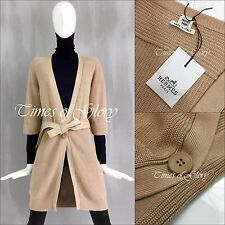 NEW Auth Hermes Ladies Tan Cotton Knitted Long Cardigan Belt Coat Sz S FR36 US2