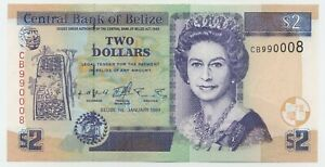 Belize 2 Dollars 1-1-1999 Pick 60.a UNC Uncirculated Banknote Serial CB