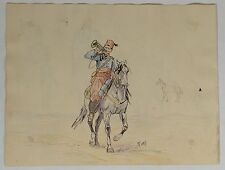 Dessin ancien encre Chine couleur recto verso A.Perezcavaliers, chevaux XIXème