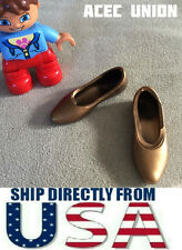"U.S. SELLER - 1/6 Scale KUMIK Metallic Gold Flat Shoes For 12"" Female Figures"