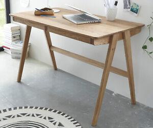 Schreibtisch Ast Eiche massiv Laptoptisch Massivholz geölt mit Schubkästen Delia