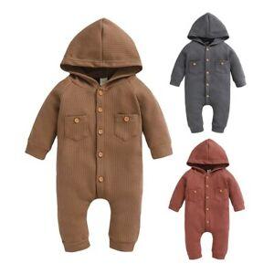 Newborn Baby Boys Girls Hooded Knit Romper Jumpsuit Bodysuit Winter Clothes Top
