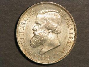 BRAZIL 1888 2000 Reis Silver Crown Unc