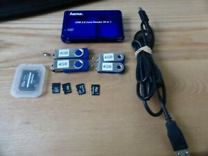 job lot 4x 4gb usb sticks and 4x micro sd cards (various) + 35in1 card reader