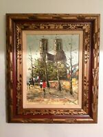 Original art 'Couple strolling in windy city' with gesso frame IMPRESSIONISM