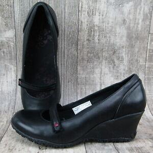 Women's Merrell Petunia Mary Jane Black Wedge Pump Heels Shoes Size 8
