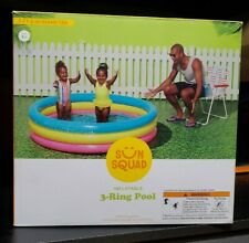 Sun Squad Inflatable 3 Ring Pool 5 ft 6 in Diameter New Free Shipping
