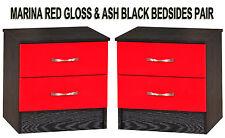 Red Gloss & Ash Black Set of 2 Bedside Cabinets Side Lamp Tables Modern Units