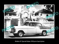 OLD LARGE HISTORIC PHOTO OF GMH 1958 FC HOLDEN SPECIAL LAUNCH PRESS PHOTO