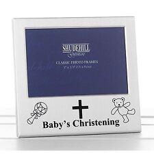"Satin Silver Baby Christening Photo Frame Takes 5""x 3.5"" (13cm x 9cm) Shudehill"