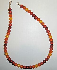Halskette originale Polarisperlen gelb orange rot rubin Sommer Collier Schmuck