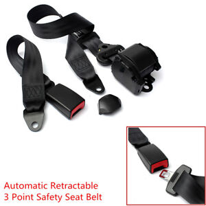 Universal Retractable 3 Point Safety Seat Belt Lap Kit For Car SUV Truck Pickup