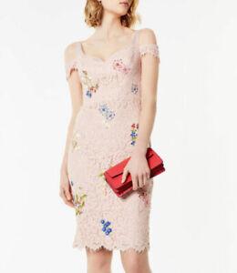 KAREN MILLEN Pink Floral Lace Dress Wedding Races Prom Cocktail BNWT UK 12 US 8