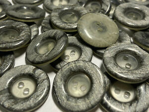Retro 80's Italian Button Grey Pearlized Poly/Clear 15mm 23mm 2hole