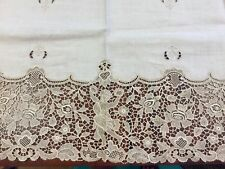 "Antique Linen & Alencon Lace Doily Ivory/Cream Intricate Dancer Flute 35"" X 17"""