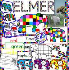 Elmer the Elephant story teaching resource CD- EYFS, KS1, Childminder, colours
