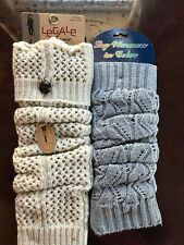NWT Legale Gugged Wear Leg Warmer Socks One Size Ivory /Cream White & Grey