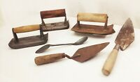 Vtg antique concrete masonry brick layer tool lot edger spoon trowel wood handle