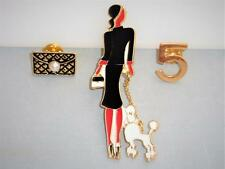 Art Deco Style Lady with French Poodle Dog  3 piece set Enamel Brooch Pin