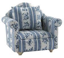 Dolls House poltrona con blu e bianco in tessuto con motivo in scala 12th