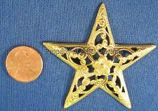 6pc Raw Brass Ornate Filigree Flower Star Finding 5252