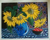 ORIGINAL WATERCOLOUR PAINTING OF FLOWERS IN VASE, STILL LIFE SUNFLOWERS