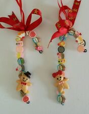 2 GINGERBREAD MEN CANDY CANES Christmas Tree decorations 10cm.Red Ginger Ribbon
