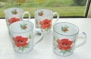 Royal Worcester Porcelain Poppies Pattern 4 x Mugs 9cm by 8cm 1990s