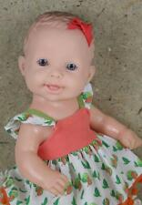 "Cotiplas Vintage Brazilian Water Baby Girl Doll 13"" W Blue Eyes Rubber Dressed"