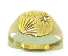 Mens gents 9ct 9carat yellow gold & diamond signet ring UK size R