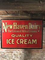 "Rare 1918 Antique New Haven Dairy Ice Cream Sign CT 42"" Cardboard Kemper Thomas"