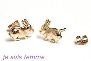 Boucles d'oreilles Or Jaune MASSIF  LAPINS  ENFANT  (f301) 8k