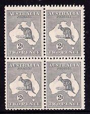 Australia 1918 Kangaroo 2d Silver-grey (Shiny paper) 3rd Wmk Die IIA MH - Block