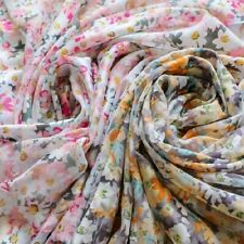 1M Chiffon Fabric Floral Cloth Diy Dress Costume Material Thin Craft 150cm Width