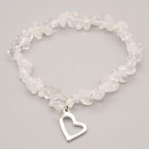 Clear Quartz Bracelet Crystal Gemstone Love Reiki Healing Chakra Heart UK Seller