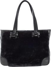 78099 Black Faux Fur Sure Tote Purse Bag Sourpuss Pinup Punk Soft Bows Goth