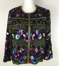 Drapers & Damons womens jacket 100% silk evening sequin floral size MP (336)