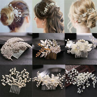 Wedding Pearl Crystal Flower Hair Pins Clips Bridesmaid Side Comb Bridal Jewelry