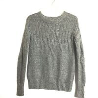 Old Navy Grey Womens Cable Knit Wool Blend Crew Neck Sweater Size X-Small