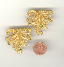 2 Vintage Russian Gold Plate Miriam Haskell Pierced Leaf Stampings 34x38mm HS86