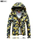 Men's Hooded Short Zip Up Down Coat OUtwear Overcoat Camouflage Slim Fit Parka