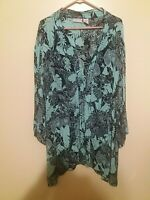 Womens Jaclyn Smith Open-Front-Tunic Floral Top Size 3X